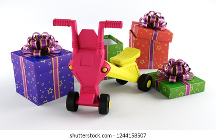 Tricycle with a gift box on a white background.3d rending.