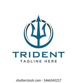 trident stylized logo design concept