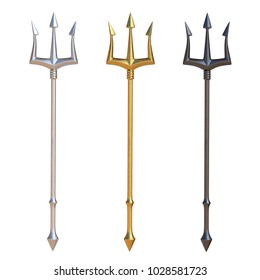 Tridents, silver, golden and black metal, isolated on white background, 3d rendering