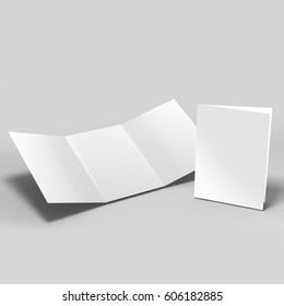 Tri-Fold A5 Brochure Mock-up realistic Rendering on Isolated White Background, 3D Illustration