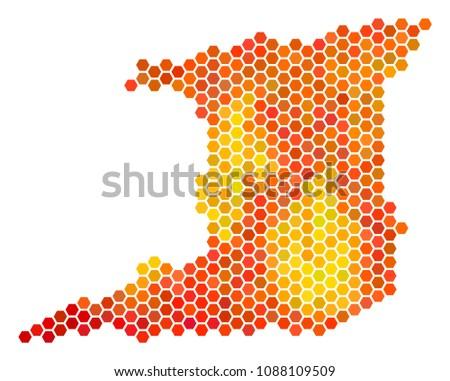 trinidad island map raster hex tile stock illustration 1088109509
