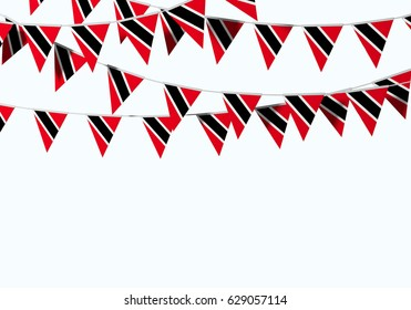 Trinidad and Tobago flag festive bunting against a plain background. 3D Rendering