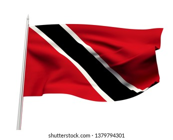 Trinidad and Tobago flag floating in the wind with a White sky background. 3D illustration.
