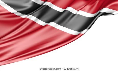Trinidad and tobago flag isolated on white background, 3D illustration