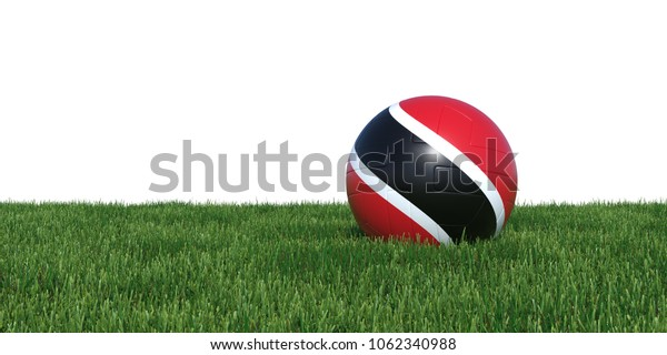 Trinidad and Tobago flag soccer ball lying in grass, isolated on white background. 3D Rendering, Illustration.