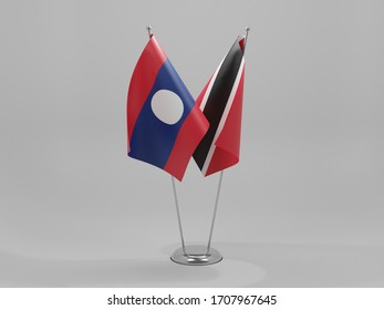 Trinidad and Tobago - Laos Cooperation Flags, White Background - 3D Render