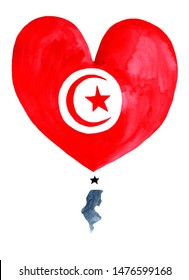 Trinidad watercolor hand drawn Trinidad  flag with a map in heart shape on white background.