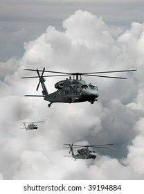 A trio of Blackhawk helicopters in transit through the clouds