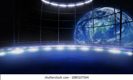 Trip to space concept virtual show stage background, ideal for tv shows, commercials or events. A 3D rendering, suitable on VR tracking system sets, with green screen