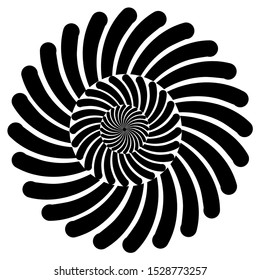 a triple black on white round spiral graphic.  The helix on every level swirling in a different direction.