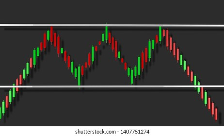 Triple Top Stock Chart Pattern 3D Illustration