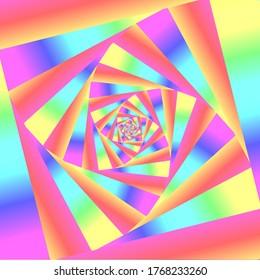 Trippy Colorful Rainbow Spiral Art