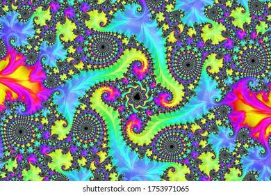 Trippy Neon Spiraling Fractal Art