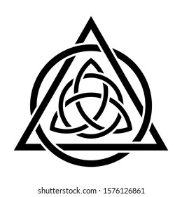 Triquetra inside a triangle interlaced with circle symbol