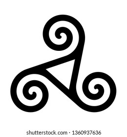 Triskelion with hollow triangle symbol icon