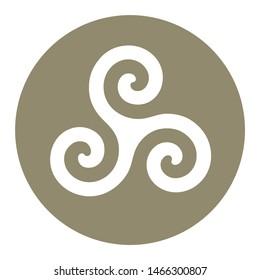 Triskelion symbol icon in a grey circle