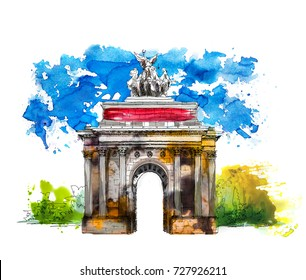 Triumph Arch in London. Sketch with colourful water colour effects