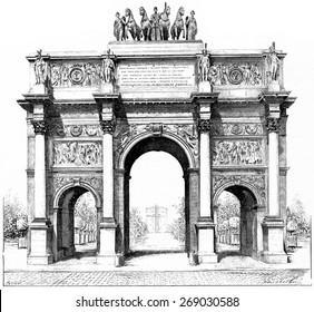 Triumphal arch of the Place du Carrousel, vintage engraved illustration. Paris - Auguste VITU  1890.
