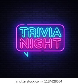 Trivia night announcement neon signboard . Light Banner, Design element, Night Neon Advensing. illustration.