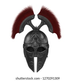 Trojan black closed helmet on an isolated white background. 3d illustration