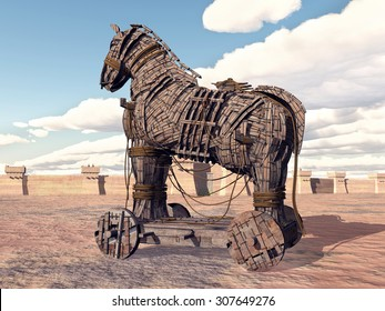 Trojan Horse Computer generated 3D illustration