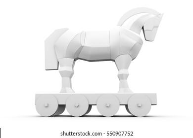 trojan horse on white background 3D illustration