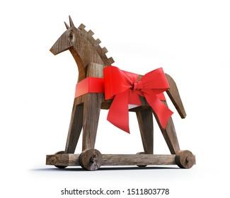 Trojan horse trojan virus - computer safety concept - 3D illustration