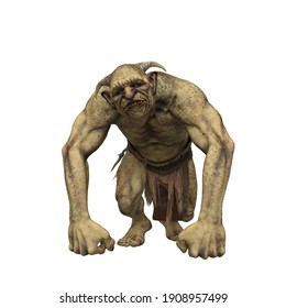 Troll fantasy creature with inquisative expression and leaning on hands. 3d render isolated on white background.