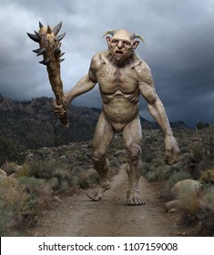 A troll is walking down a desert path ready to fight - 3D render.