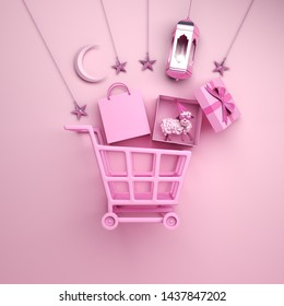 Trolley cart, paper bag, arabic lantern, star, gift box, sheep, crescent moon on studio lighting pink background, flat lay. Design concept of islamic eid al adha sale event. 3D rendering illustration.