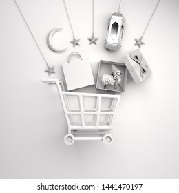 Trolley cart, paper bag, arabic lantern, star, gift box, sheep, crescent moon on studio lighting white background, flat lay. Design concept of islamic eid al adha sale event. 3D render illustration.