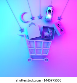 Trolley cart, paper bag, arabic lantern, star, gift box, sheep, crescent moon on blue pink gradient background, flat lay. Design concept of islamic eid al adha sale event. 3D render illustration.