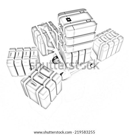 Trolley Luggage Airport Luggage Pencil Drawing Stock Illustration