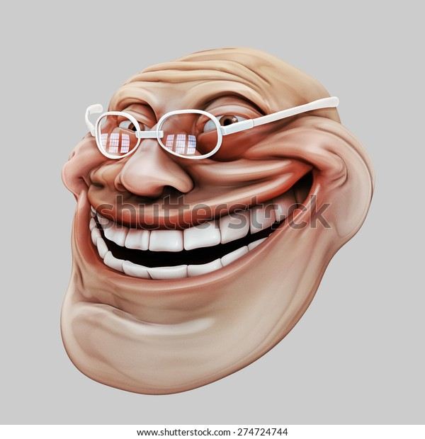 Trollface dark spectacled, in hat. 3d illustration isolated