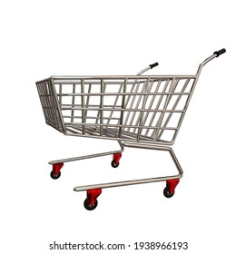 trolly super market  metallic isolated for background - 3d rendering