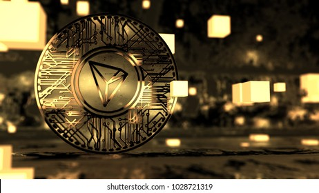 TRON Coin (TRX) Blockchain Cryptocurrency Altcoin 3D Render. TRON TRX is a blockchain based decentralized protocol that aims to construct a worldwide free content entertainment system