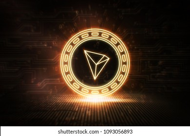 Tron - TRX - 3D Cryptocurrency Neon Coin
