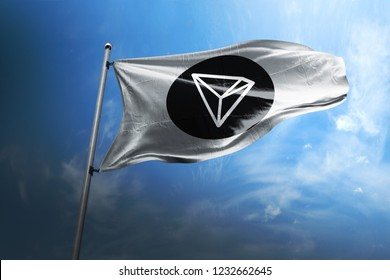 Tron TRX cryptocurrency logo 3d realistic flag render