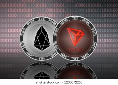 TRON (TRX) and EOS (EOS) coins on the binary code background; tron vs eos