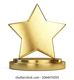 Trophy award concept - Golden Star on golden podium. 3d rendering
