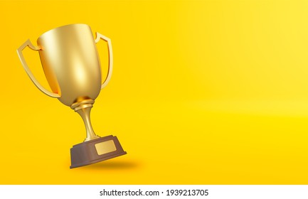 Trophy cup on yellow background. Sport tournament award, gold winner cup and victory concept. 3d rendering illustration