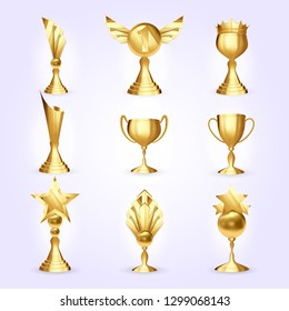 Trophy Cups Set. Success Golden Trophy Award. Different Champion Icon. Winner Leader Prize. First 1st Place. Best One. Event Victory Ceremony Realistic Illustration