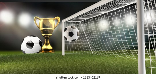 trophy and soccer football ball and soccer goal 3d-illustration