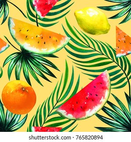 Tropic fruit mix with watermelon slices, lemon, orange, palm tree leaves. Colorful hawaiian holiday pattern. Seamless fashion print on peach color background. Exotic beautiful watercolor drawing
