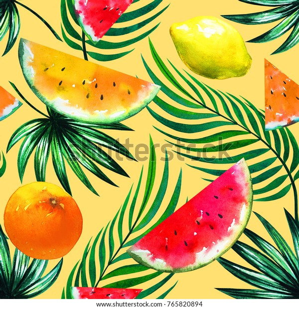 Tropic Fruit Mix Watermelon Slices Lemon Stock Illustration