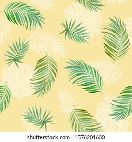 tropic palm leaf seamless pattern,green jungle hawaii modern summer yellow background.