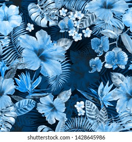 Tropic pattern beautiful collage floral background. Seamless floral watercolour background. Artistic collage exotic plants blossom flowers hibiscus, palm leaves, banana leafs with effect deep jungle.
