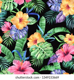 Tropic pattern on a black. Seamless floral watercolour background. Awe exotic collage painted leafs plants blossom flowers hibiscus pink color yellow, green tropical palm leaves, summer banana leafs