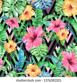 Tropic vivid patten on a black. seamless watercolour exotic background - natural print painting flowers hibiscus, palm leaves, banana leafs on a geomatic backdrop.