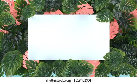 Tropica pink and green leaves Monstera on blue background. Template layout, minimal fashion summer concept art . Flat lay, top view. 3d rendering.